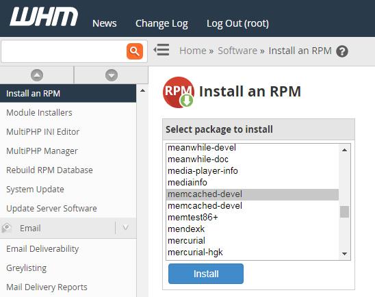 Instalacion RPM memcached