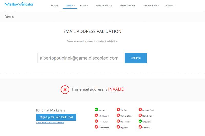 Validar emails con Mailbox Validator